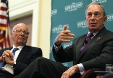 """News Corp Chairman and CEO Rupert Murdoch listens as New York City Mayor Michael Bloomberg makes a point at the """"The Economics and Politics of Immigration"""" Forum in Boston"""